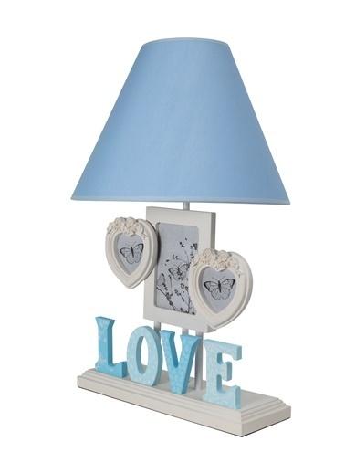 Misto Home Çerçeveli Abajur Love Mavi